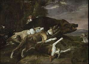 Hounds Assailing a Boar