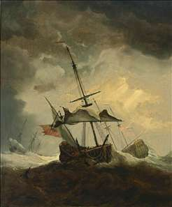 Small English Ship Dismasted in a Gale