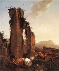 Peasants with Cattle by a Ruined Aqueduct