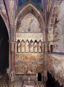 View of the frescoes in the left transept