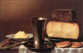 Still-life with Glass, Cheese, Butter and Cake