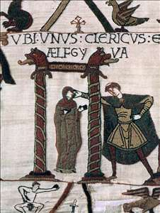 The Bayeux Tapestry: Unidentified cleric and Aelfgyva