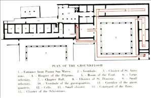 Plan of the ground floor in the Convento di San Marco