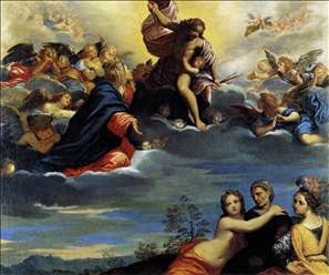 Virigin and Angels Imploring Christ not to Punish Lust, Avarice, and Pride