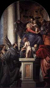 Enthroned Madonna and Child, with the Infant St John the Baptist and Saints