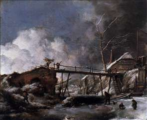 Winter Landscape with Wooden Bridge
