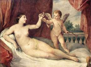 Reclining Venus with Cupid