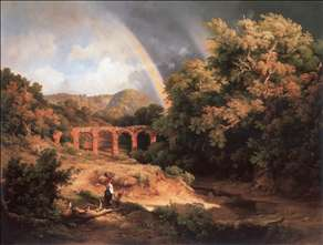 Italian Landscape with Viaduct and Rainbow