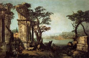 Capriccio with Classical Arch and Goats