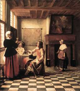 A Woman Drinking with Two Men