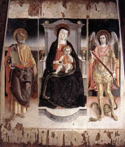 Madonna Enthroned with the Infant Christ, St Peter and St Michael