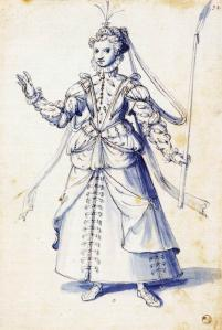 Costume drawing of a woman with torch