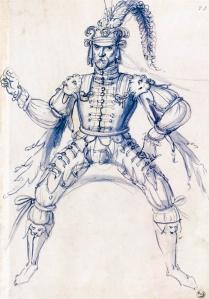 Costume drawing for a knight on horseback