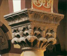 Capital with foliage and heads