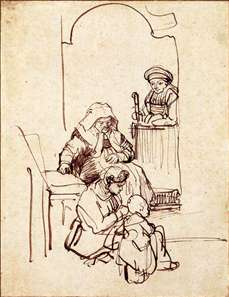 Three Women and a Child by a Doorway