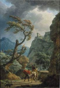 Soldiers in a Mountain Gorge, with a Storm
