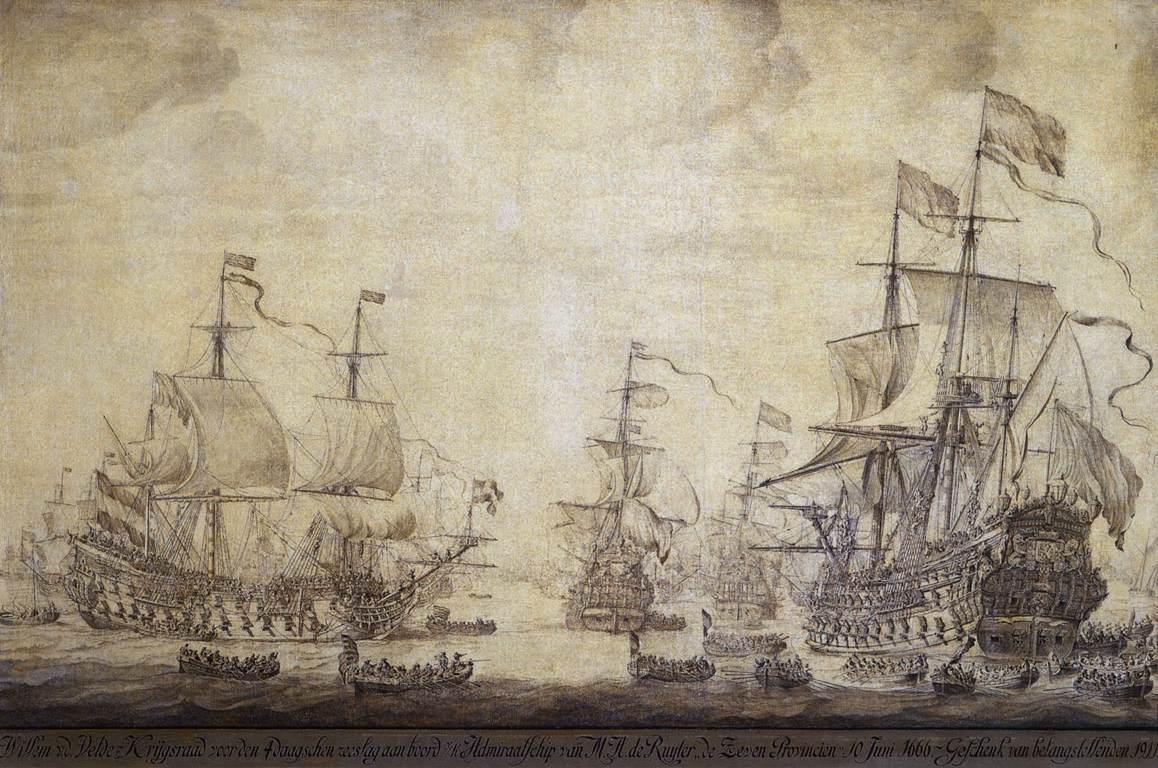 The Council of War on Board 'De Zeven Provincien', the Flagship of Michiel Adriaensz de Ruyter, on 10 June 1666