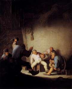 Peasants Drinking and Making Music in a Barn