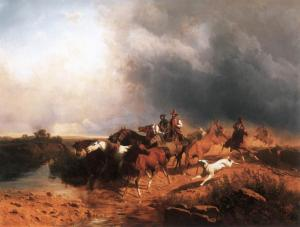 Italian Landscape with Galoping Horses