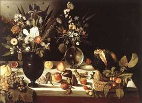 A Table Laden with Flowers and Fruit