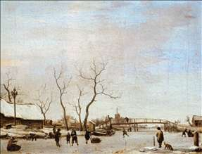 Frozen Canal with Skaters and Hockey Players