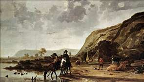 Large River Landscape with Horsemen