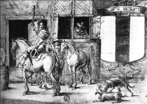Soldiers with Horses before a House