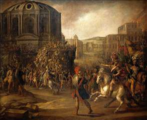 Battle Scene with a Roman Army Besieging a Large City