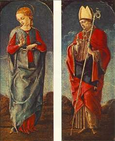 Virgin Announced and St Maurelio (panels of a polyptych)