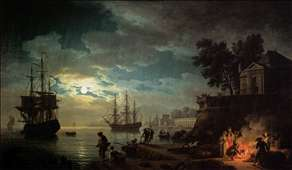 Night: Seaport by Moonlight