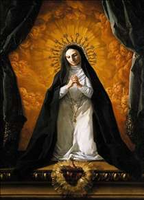 St Margaret Mary Alacoque Contemplating the Sacred Heart of Jesus