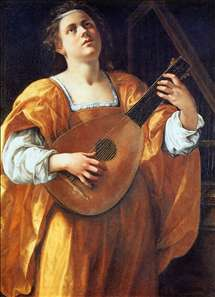 St Cecilia Playing a Lute