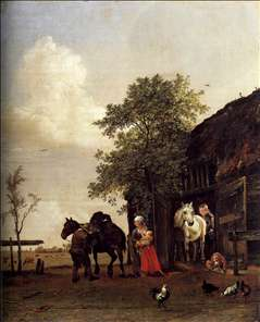 Figures with Horses by a Stable