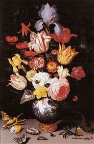 Flower Still-Life with Shell and Insects